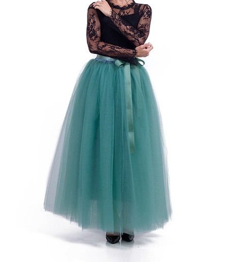 a52061156a Green Tulle Skirt 7 Layers - Full length